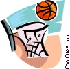 Vector Clipart graphic  of a basketball net and ball