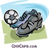 Vector Clip Art picture  of a Soccer cleats and ball