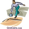 Vector Clipart graphic  of a Person bowling