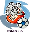 Vector Clipart image  of a bag of soccer balls