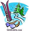 Downhill skis and goggles Vector Clipart picture
