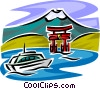 Vector Clipart image  of a tour boat and temple