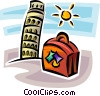 Vector Clipart graphic  of a leaning tower of Pisa and a