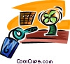 hotel desk with key Vector Clipart image