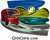 RV driving on a road Vector Clipart illustration