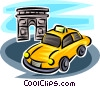 Vector Clip Art graphic  of a taxicab near the Arc de