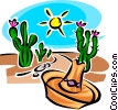 cactus and a hat Vector Clipart graphic
