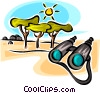 Vector Clip Art image  of a binoculars in the desert