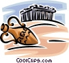 Vector Clipart illustration  of a vase and Parthenon
