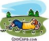 Vector Clip Art image  of a person relaxing in a field