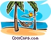 Vector Clip Art image  of a hammock between two trees