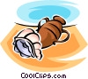 Vector Clipart graphic  of a vase an a seashell