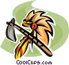 Native American headdress and tomahawk Vector Clip Art picture