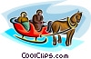 Vector Clip Art image  of a sleigh with a horse