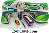 Vector Clip Art graphic  of a vehicles on a road