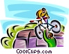 Vector Clipart image  of a two people moving a bicycle