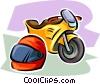 motorcycle and helmet Vector Clipart illustration