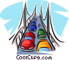 Vector Clipart graphic  of an automobiles on a bridge