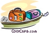 Vector Clip Art graphic  of a Luggage on conveyor belt