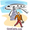 businessman walking past an airplane Vector Clip Art picture