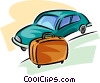 Vector Clip Art graphic  of a piece of luggage beside a car
