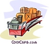 Vector Clipart graphic  of a baggage truck at the airport