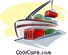 Vector Clip Art picture  of a cargo ship unloading shipping