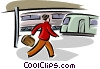 Vector Clip Art graphic  of a walking through the train station