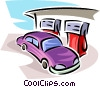 Vector Clip Art image  of an automobile getting gas