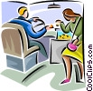 Vector Clip Art image  of a woman paying a fare on the bus