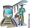 Man waiting at the train station Vector Clipart picture
