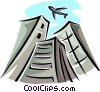 Vector Clip Art graphic  of an airplane flying over buildings