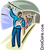 Vector Clipart graphic  of a person on the subway