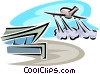 Vector Clip Art graphic  of an airplane taking off