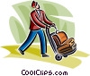 Bellhop with baggage Vector Clipart graphic