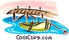 Vector Clip Art graphic  of a rowboat at a dock