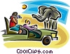 Vector Clip Art picture  of a People on a safari looking at