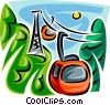 Vector Clipart graphic  of a Ski lift Gondolas