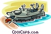 Vector Clipart illustration  of a hovercraft ferry