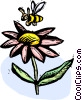 flower and a bee Vector Clipart picture