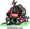 Vector Clipart graphic  of a Barns and Farms