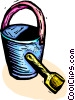 Vector Clip Art graphic  of a Shovel and a pail