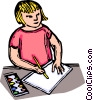 Vector Clipart picture  of a Child drawing on a piece of