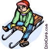Vector Clipart graphic  of a child on a sled