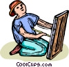 child playing Vector Clipart graphic