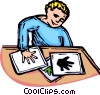Vector Clipart illustration  of a boy making hand prints