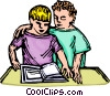 Vector Clipart illustration  of a learning to read