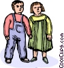 Vector Clip Art picture  of a children holding hands