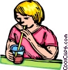 child drinking Vector Clip Art graphic