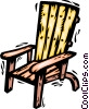 Vector Clip Art image  of a Deck Chairs and Beach